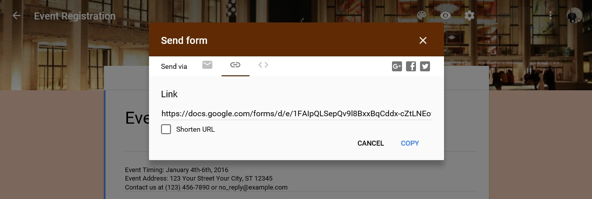 Send URL Google forms kiosk mode